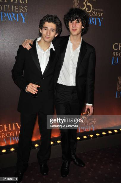 Actors Vincent Lacoste and Anthony Sonigo attend the 35th Cesar Film Awards After Party at Dancing Mimi Pinson on February 28 2010 in Paris France