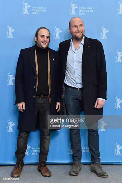 Actors Vincent Macaigne and Francois Damiens attend the 'News from Planet Mars' photo call during the 66th Berlinale International Film Festival...