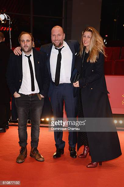 Actors Vincent Macaigne Francois Damiens and his wife attend the 'News from Planet Mars' premiere during the 66th Berlinale International Film...