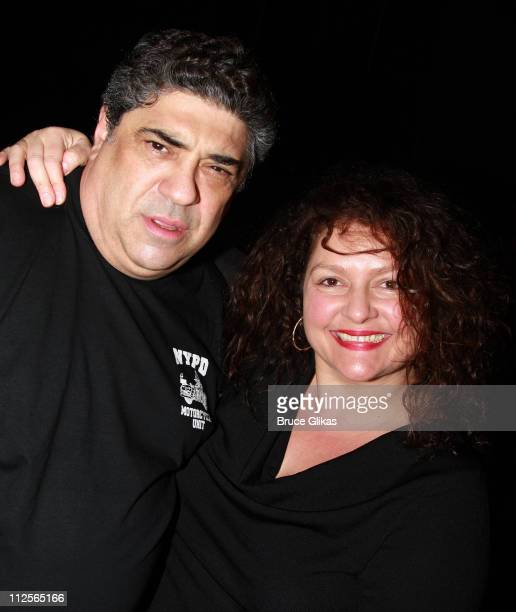 Actors Vincent Pastore and Aida Turturro backstage at 'Chicago' on Broadway at The Ambassador Theater on January 6 2008 in New York City