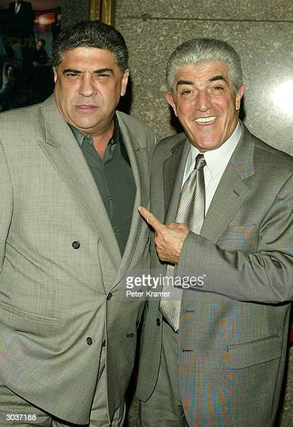 Actors Vincent Pastore and Frank Vincent attend the fifth season premiere of 'The Sopranos' at Radio City Music Hall March 2 2004 in New York City
