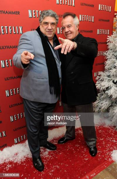 Actors Vincent Pastore and Tony Sirico attend the North American Premiere Of Lilyhammer a Netflix Original Series at Crosby Street Hotel on February...