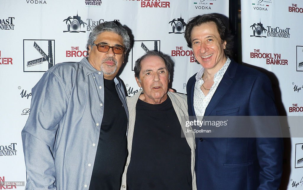 Actors Vincent Pastore, David Proval and actor/director Federico Castelluccio attend the 'The Brooklyn Banker' New York premiere at SVA Theatre on August 2, 2016 in New York City.