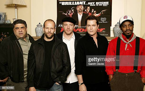"""Actors Vincent Pastore, Jason Statham, director Guy Ritchie, actors Ray Liotta and Andre """"Andre 3000"""" Benjamin attend the press conference for..."""