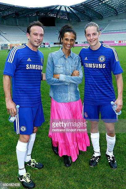 actors Vincent Perez his wife Karine Silla and politician Pierre Sarkozy plays the Football match for the benefit of the association 'Plus fort la...