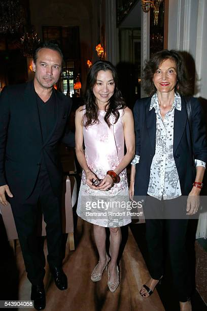 Actors Vincent Perez Michelle Yeoh and Director Anne Fontaine arrive at 6th Chinese Film Festival Press Conference at Hotel Meurice on June 30 2016...