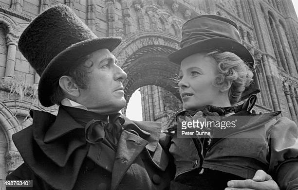 Actors Vincent Price and Elizabeth Shepherd filming 'The Tomb of Ligeia' at Old Priory Swaffam May 21st 1964