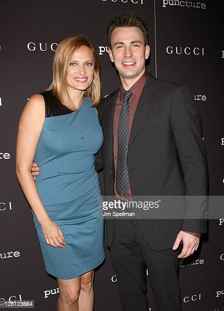 Actors Vinessa Shaw and Chris Evans attend the Puncture premiere at the Angelika Film Center on September 15 2011 in New York City