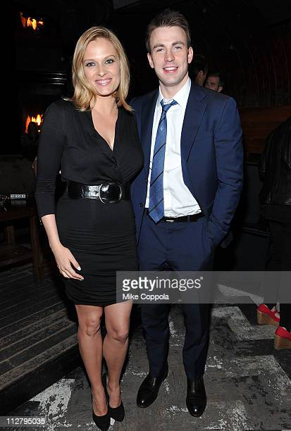 Actors Vinessa Shaw and Chris Evans attend the Tribeca Film Festival afterparty for Puncture hosted by at 1OAK on April 21 2011 in New York City