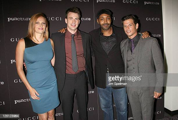Actors Vinessa Shaw Chris Evans Jesse L Martin and actor/codirector Mark Kassen attend the Puncture premiere at the Angelika Film Center on September...