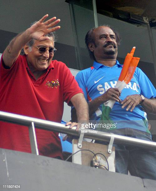 Actors Vinod Khanna and Rajinikanth during the ICC Cricket World Cup final between India and Sri Lanka at Wankhede Stadium in Mumbai on April 2 2011