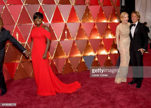 Actors Viola Davis Nicole Kidman and singer Keith Urban attend the 89th Annual Academy Awards at Hollywood Highland Center on February 26 2017 in...