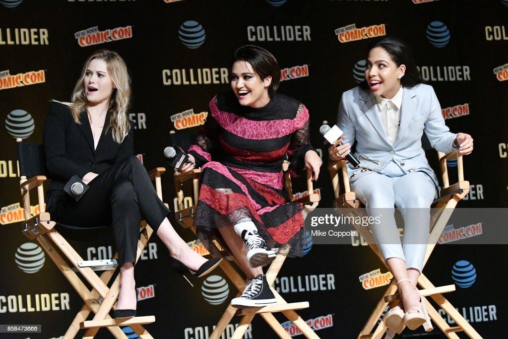 Actors Virginia Gardner, Ariela Barer, and Allegra Acosta participate in Hulu's Runaways panel at New York Comic Con at Jacob Javits Center on October 6, 2017 in New York City.