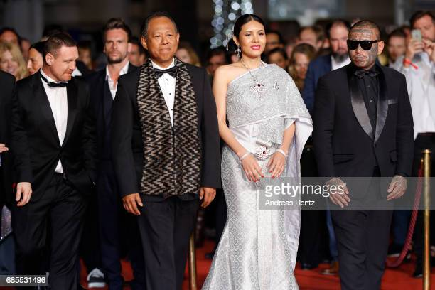 Actors Vithaya Pansringarm Pornchanok Mabklang and Panya Yimumphai attend the A Prayer Before Dawn screening during the 70th annual Cannes Film...