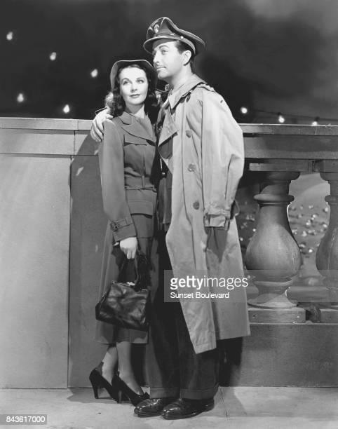 Actors Vivien Leigh and Robert Taylor respectively as young ballerina Myra and British officer Roy Cronin in a scene from the movie 'Waterloo Bridge'...