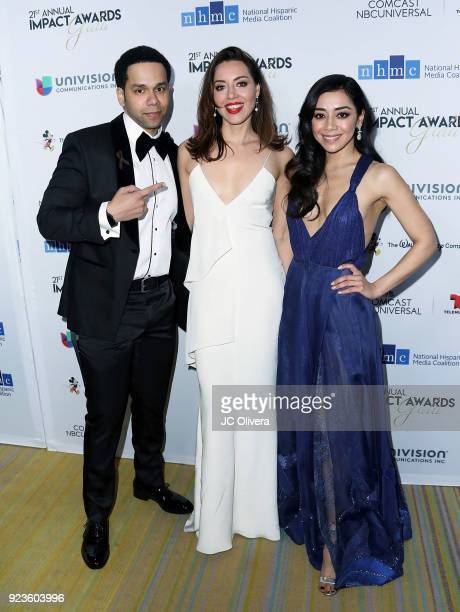 Actors Vladimir Caamano Aubrey Plaza and Aimee Garcia attend the 20th Annual National Hispanic Media Coalition Impact Awards Gala at Regent Beverly...