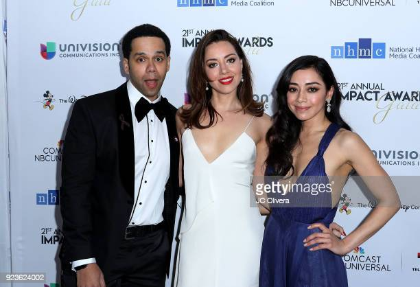 Actors Vladimir Caamano Aubrey Plaza and Aimee Garcia attend the 21st Annual National Hispanic Media Coalition Impact Awards Gala at Regent Beverly...