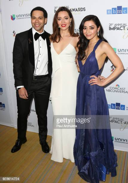 Actors Vladimir Caamano Aubrey Plaza and Aimee Garcia attend the National Hispanic Media Coalition's 21st annual Impact Awards at the Beverly...