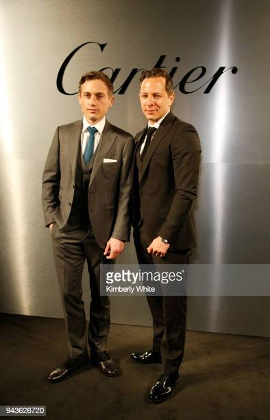 Actors Volker Bruch and Trystan Putter attend Cartier celebration of the launch of Santos de Cartier Watch at Pier 48 on April 5 2018 in San...