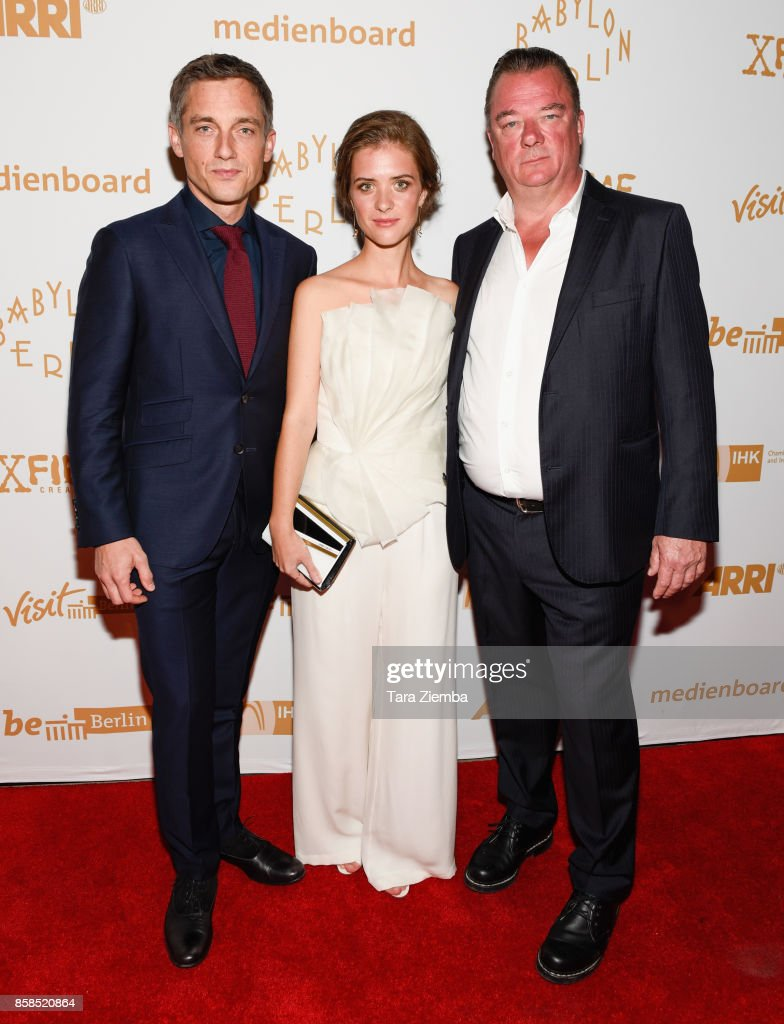 Actors Volker Bruch, Liv Lisa Fries and Peter Kurth attend the premiere of Beta Film's 'Babylon Berlin' at The Theatre at Ace Hotel on October 6, 2017 in Los Angeles, California.