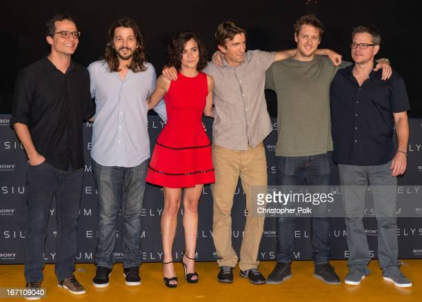 Actors Wagner Moura Diego Luna Alice Braga Sharlto Copley director Neill Blomkamp and actor Matt Damon attend the 'Elysium' photo call at the 5th...