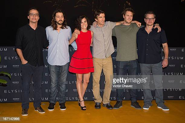 Actors Wagner Moura Diego Luna Alice Braga Sharlto Copley director Neill Blomkamp and actor Matt Damon attend the 'Elysium' photo call during the 5th...