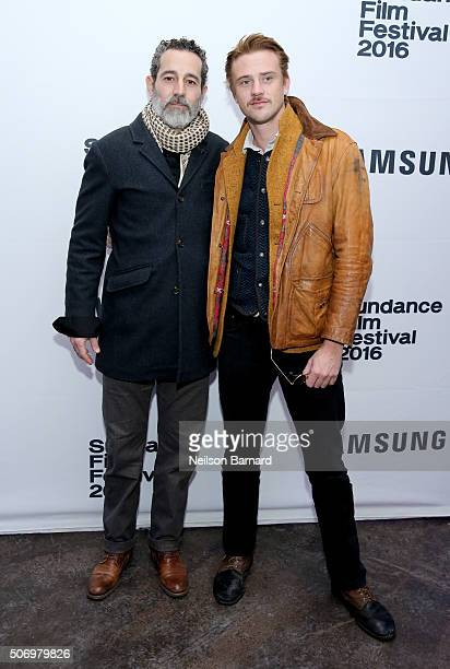 Actors Waleed Zuaiter and Boyd Holbrook attend The Free World Cocktails at the Samsung Studio during the 2016 Sundance Film Festival on January 26...