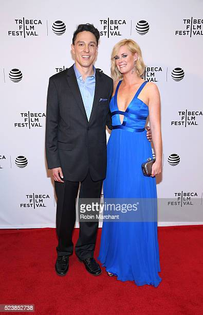 Actors Wally MarzanoLesnevich and Abigail Hawk attend 'Almost Paris' Premiere 2016 Tribeca Film Festival at Chelsea Bow Tie Cinemas on April 24 2016...