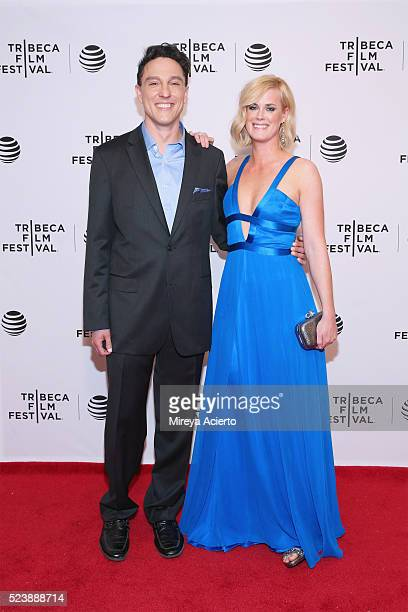 Actors Wally MarzanoLesnevich and Abigail Hawk attend 'Almost Paris' premiere during 2016 Tribeca Film Festival at Chelsea Bow Tie Cinemas on April...