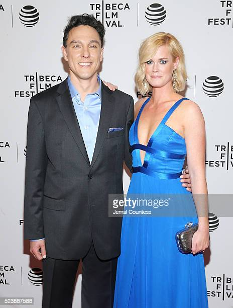 Actors Wally MarzanoLesnevich and Abigail Hawk attend the Almost Paris Premiere at Chelsea Bow Tie Cinemas on April 24 2016 in New York City