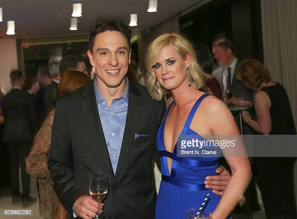 Actors Wally MarzanoLesnevich and Abigail Hawk attend the 'Almost Paris' premiere after party on April 24 2016 in New York City