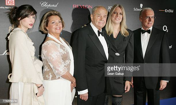 Actors Walter Giller and Nadja Tiller , their daughters Natascha and Alexia, and Franz Beckenbauer attend the 58th annual Bambi Awards at the...
