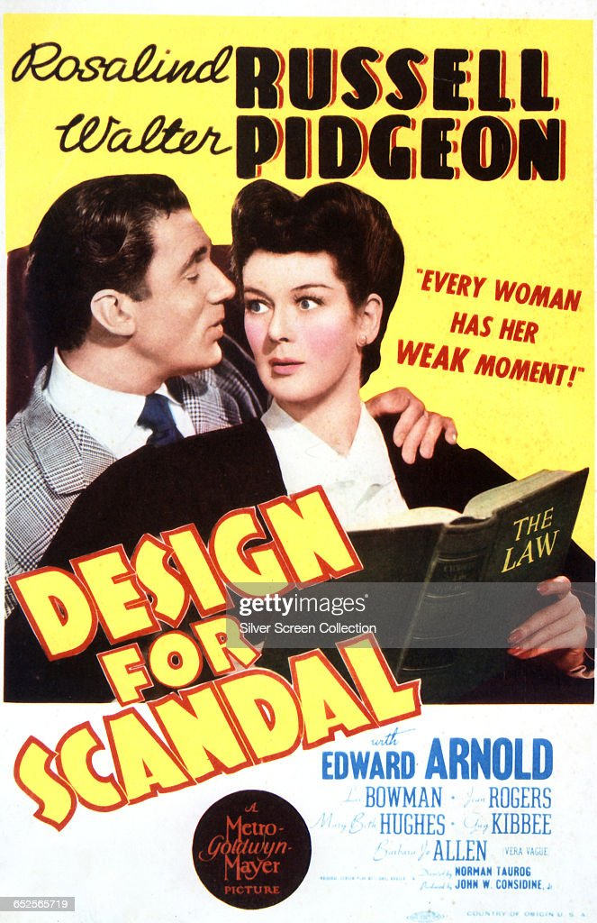 Actors Walter Pidgeon as reporter Jeff Sherman and Rosalind Russell as Judge Cornelia C. Porter on a poster for the MGM romantic comedy 'Design for Scandal', directed by Norman Taurog, 1941.