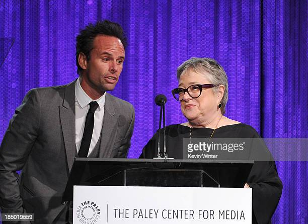 Actors Walton Goggins and Kathy Bates speak onstage during The Paley Center for Media's 2013 benefit gala honoring FX Networks with the Paley Prize...