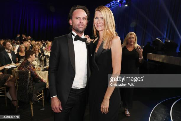 Actors Walton Goggins and Laura Dern attend The 23rd Annual Critics' Choice Awards at Barker Hangar on January 11 2018 in Santa Monica California