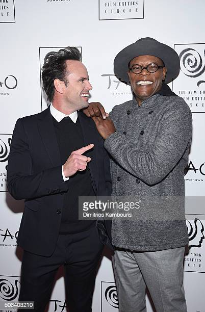 Actors Walton Goggins and Samuel L Jackson attend 2015 New York Film Critics Circle Awards at TAO Downtown on January 4 2016 in New York City
