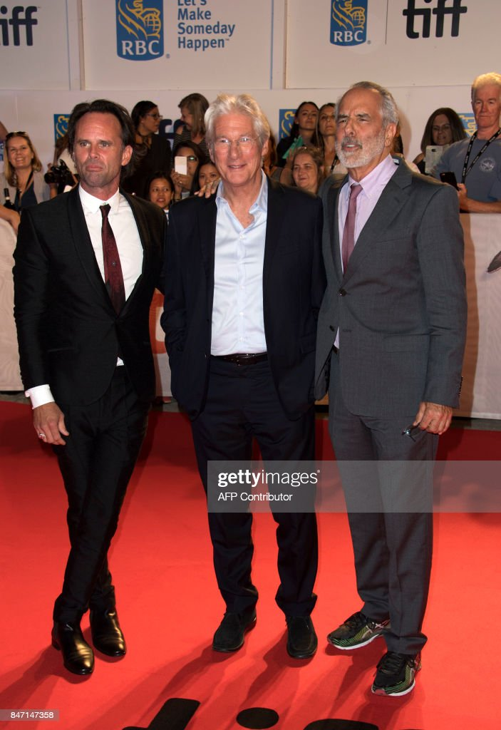 Actors Walton Goggins, Richard Gere and director Jon Avnet attend the premiere of 'Three Christs' during the 2017 Toronto International Film Festival September 14, 2017, in Toronto, Ontario. /