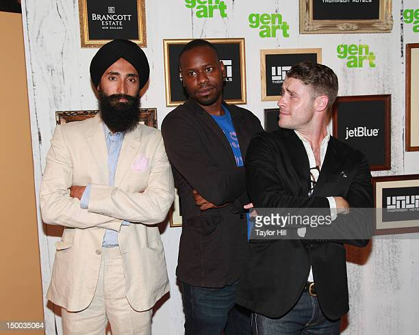 Actors Waris Ahluwalia Malcolm Barrett and Jon Abrahams attend the Missed Connections screening during the 2012 GenArt Film Festival opening night at...