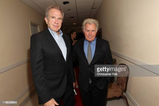 Actors Warren Beatty and Martin Sheen backstage during the 2011 Women In Film Crystal Lucy Awards with presenting sponsor PANDORA jewelry at the...