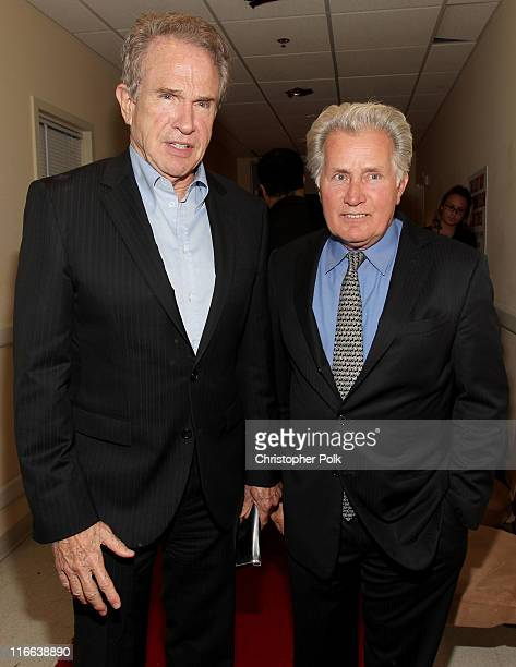 Actors Warren Beatty and Martin Sheen pose backstage during the 2011 Women In Film Crystal Lucy Awards with presenting sponsor PANDORA jewelry at the...