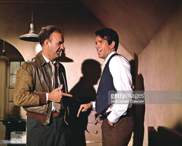 Actors Warren Beatty as Clyde Barrow and Gene Hackman as Buck Barrow in the film 'Bonnie and Clyde' 1967