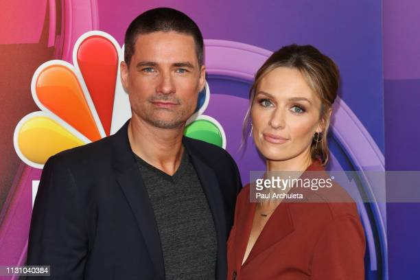 Actors Warren Christie and Michaela McManus attend the NBC's Los Angeles midseason press junket at NBC Universal Lot on February 20 2019 in Universal...