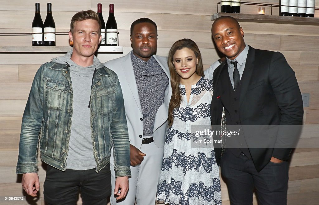 Actors Warren Kole, Dayo Okeniyi, Sarah Jeffery and Hampton Fluker attend the season 2 premiere after party for 'Shades Of Blue' hosted by NBC and The Cinema Society at Tutto Il Giorno on March 1, 2017 in New York City.