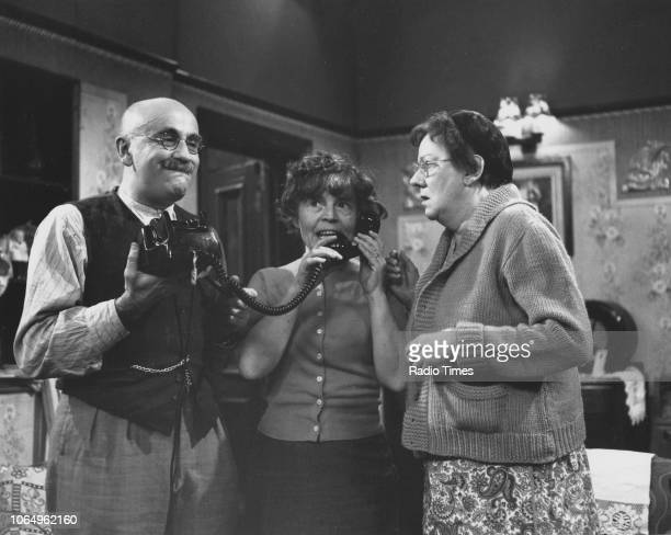Actors Warren Mitchell Patricia Hayes and Dandy Nichols in a scene from the television sitcom 'Till Death Us Do Part' 1968