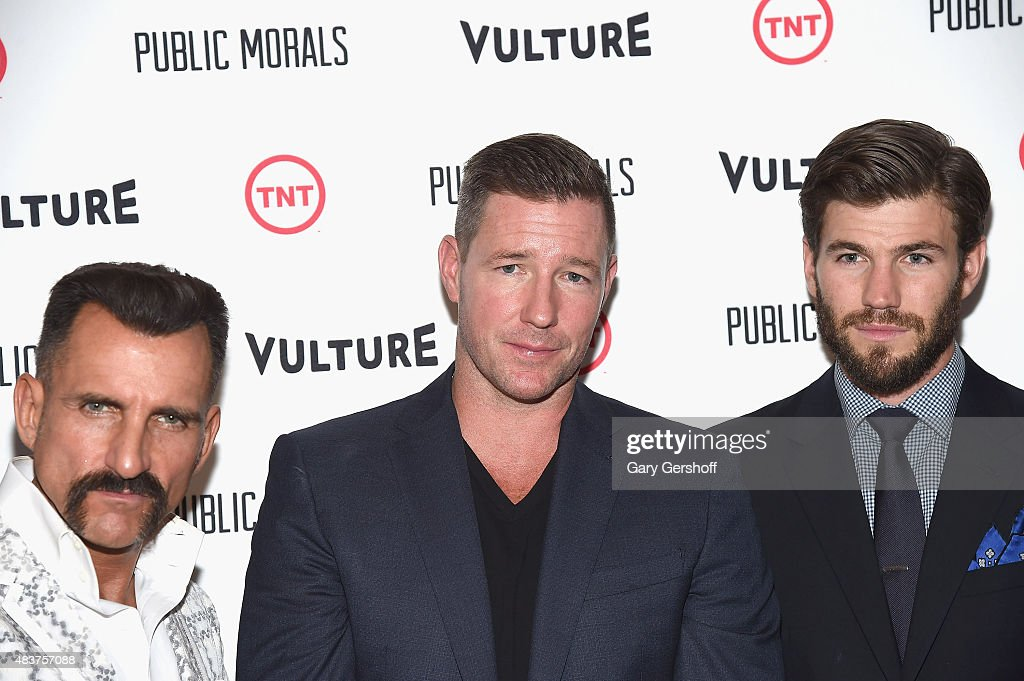 Actors Wass Stevens, Edward Burns and Austin Stowell attend the 'Public Morals' New York Screening at Tribeca Grand Screening Room on August 12, 2015 in New York City.