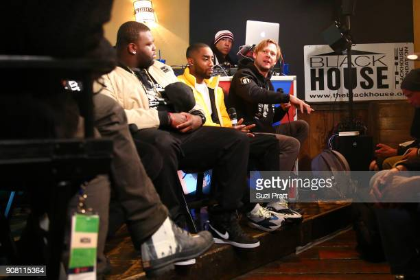 Actors Wavyy Jones Marcc Rose and Jimmi Simpson speak onstage during the '20 Years Still Unsolved' Panel presented by USA Network UNSOLVED THE...