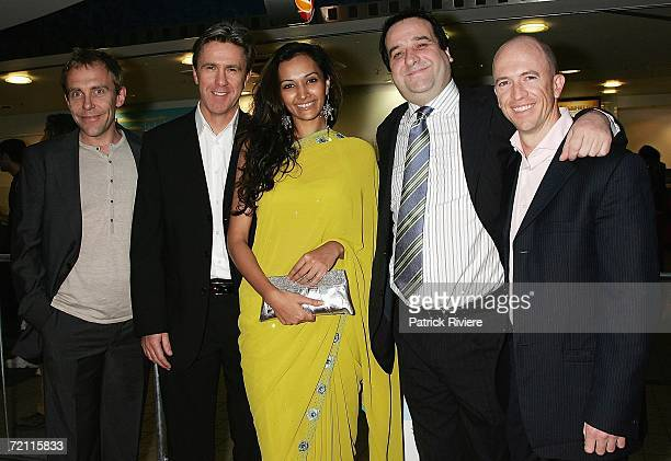 Actors Wayne Hope Glenn Robbins Mick Molloy and Gary Eck pose with Indian actress and model Bipannica Sharma at the Sydney premiere of new comedy...