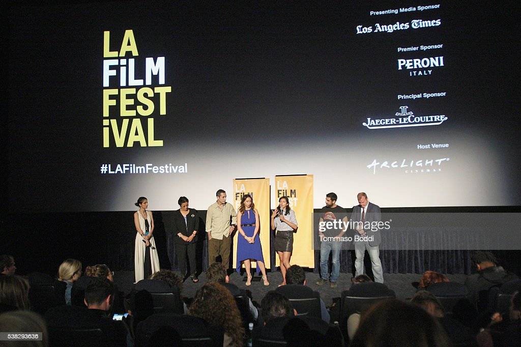 Actors Wedad Abdou and Nicole Haddad, director Heidi Saman, actor Karim Saleh and producer Matthew Keene Smith speak onstage at the premiere of 'Namour' during the 2016 Los Angeles Film Festival at Arclight Cinemas Culver City on June 5, 2016 in Culver City, California.
