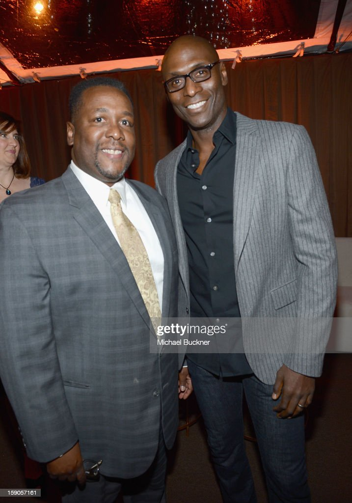 Actors Wendell Pierce (L) and Lance Reddick attend the Audi Golden Globes Kick Off 2013 at Cecconi's Restaurant on January 6, 2013 in Los Angeles, California.
