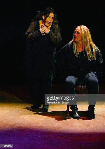Actors Wendie Jo Sperber and Diane Delano perform during the Wesparkle Night Take II Variety Show at the El Portal Theatre on April 7 2003 in...